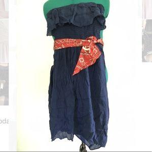 High-low navy blue dress
